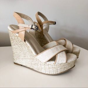 MIA Linen Platform Wedge Sandal 'Dossie'